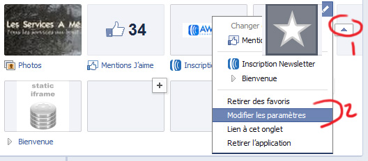 Modifier les vignettes d'applications Facebook