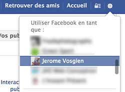 Se connecter en tant que page Facebook