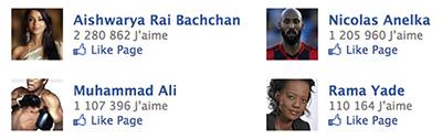Pages Facebook des célébrités