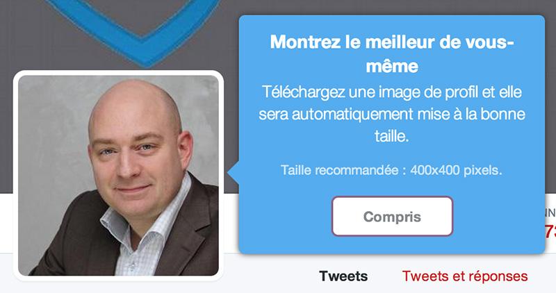 Nouveau profil Twitter étape 2