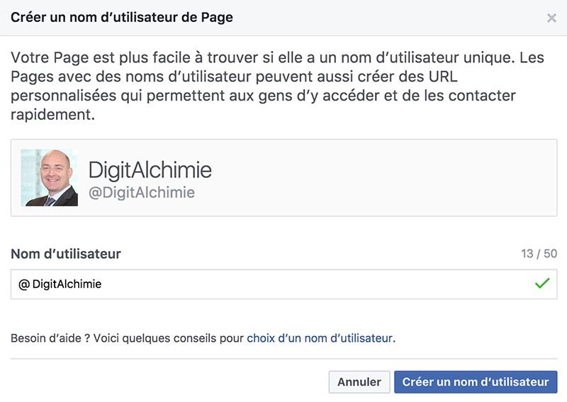Choisir URL de Page Facebook